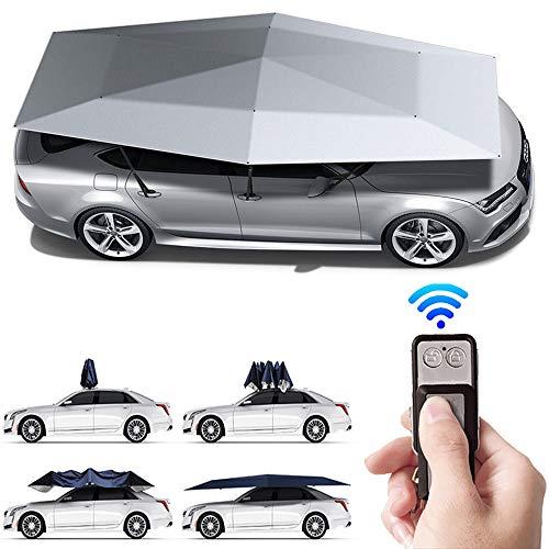480X230Cm Tenda Automatica Per Auto Con Telecomando, Carport Mobile Pieghevole Protezione Portatile Per Auto Ombrello Auto Sunproof Sun Universal,Oxford Tela Cerata Auto Ombrellone,Silver