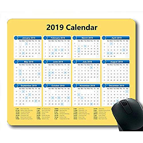 2019 kalender muismatten, kalender dagen Gaming muis matten, kalender planner 2019 met vakantie details