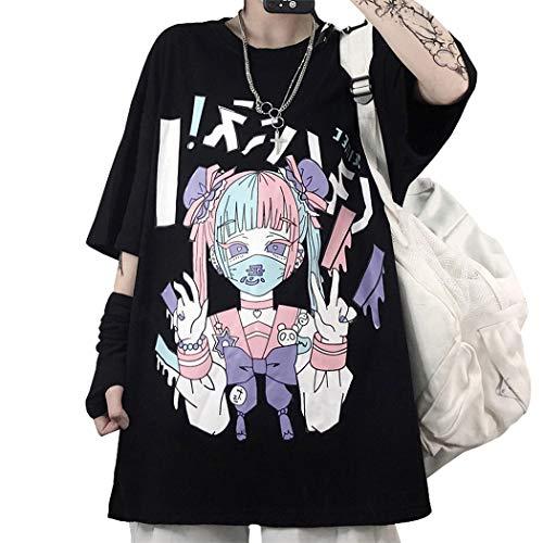 HXTOP Giapponese Kawaii T-Shirt Donna Manga Anime Gotico Maglietta Oversize T Shirt Estiva