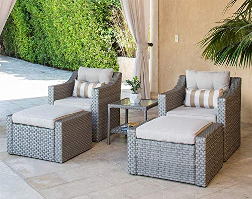 SOLAURA 5-Piece Sofa Outdoor Furniture Set, Wicker Lounge Chair & Ottoman with Neutral Beige Cushions & Glass Coffee Side Table - Gray