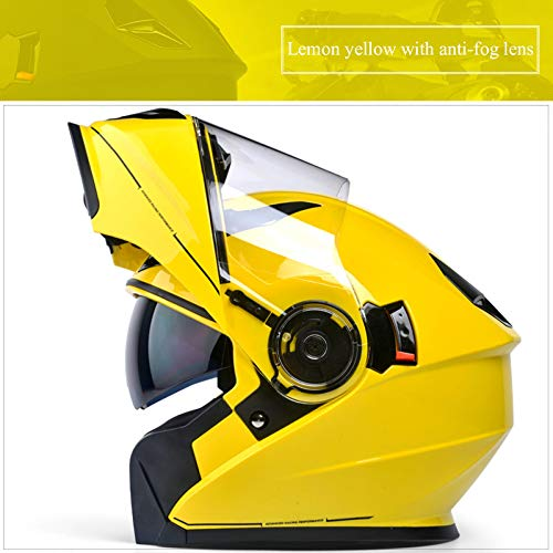 JIEKAI Klapphelme Für Motorrad Gelb Motorradhelm Mit Sonnenblende F(58-62cm) motorradhelm Klapphelm Integralhelm Helm Motorradhelm