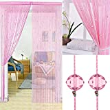 2 Pcs Crystal Beaded Curtain Tassel Curtain - Partition Door Curtain Beaded String Curtain Door Screen Panel Home Decor Divider Crystal Tassel Screen 90x200cm (Pink-2Pcs)