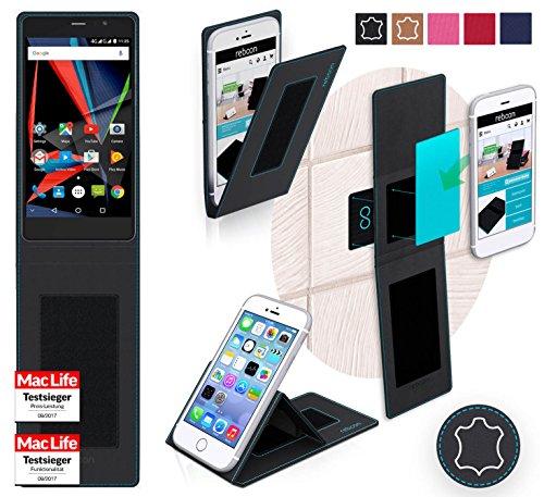 reboon Hülle für Archos 55 Diamond Selfie Lite Tasche Cover Case Bumper | Schwarz Leder | Testsieger