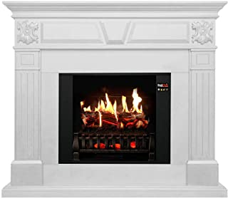 MagikFlame Electric Fireplace with Mantel – Athena White – 30 Flames