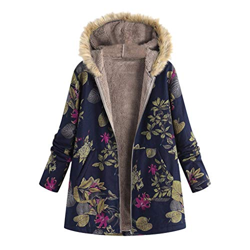 TOPKEAL Jacke Warme Mantel Damen Herbst Winter Sweatshirt Blumendruck mit Kapuze Kapuzenjacke Hoodie Taschen Pullover Übergroße Outwear Coats Mode Tops (Marine-3, XXXXXL)