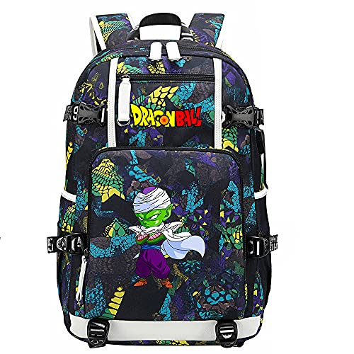 ZZGOO-LL Dragon Ball Son Goku/Vegeta IV Anime Laptop Backpack Bag Travel Laptop Daypacks Lightweight Bag with USB-D