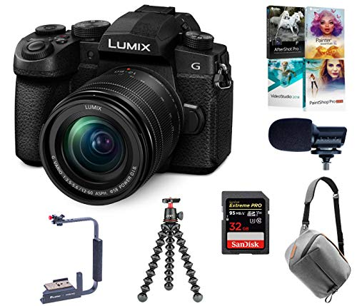 Panasonic LUMIX G95 20.3 Megapixel Mirrorless Camera, 12-60mm F3.5-5.6 Lens, Bundle with Peak Design Bag, Marantz Mic, Joby GorillaPod 3K Kit, Flip-Flash Bracket, 32GB SD Card, Corel PC Software Kit