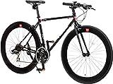 CANOVER(カノーバー) クロスバイク 700C シマノ21段変速 CAC-024 (HEBE) ディープリム クロモリフレーム フロントLEDライト付 ブラック