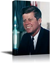 wall26 - Portrait of John F. Kennedy (35th President of The United States) - American Presidents Series - Canvas Wall Art Gallery Wrap Ready to Hang - 16x24 inches