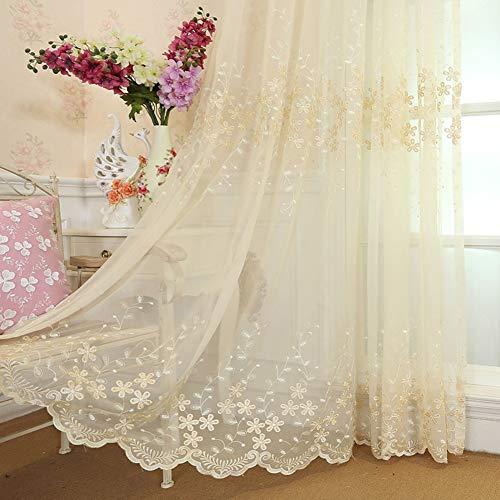 Cortina de gasa Midsy, para dormitorio, salón, cortina bordada, gasa blanca, cortina semiopaca, b, 300x260cm(118x102inch)