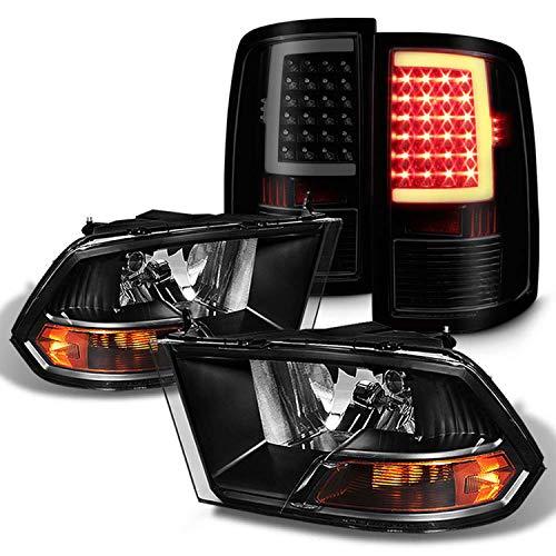 Fits 2009-2018 Ram 1500 2010-2018 Ram 2500/3500 Black Headlights + [C-Light Bar] LED Blk Smoked Tail Brake Lights Pair