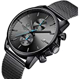 Men's Watch Fashion Sport Quartz Analog Mesh Stainless Steel Waterproof Chronograph Watches, Auto Date in Blue Hands, Color: Black