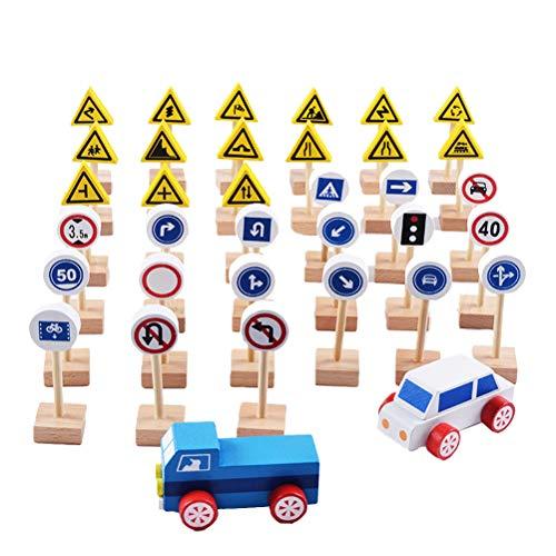 YeahiBaby 35pcs Segnali stradali in legno Segnali stradali Playset Giocattoli educativi per bambini per l'apprendimento della conoscenza del traffico