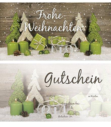 Logbuch-Verlag 20 Weihnachtsgutscheine - Gutschein Einkaufsgutschein FROHE WEIHNACHTEN zum Beschriften DIN lang grün grau doppelseitig für Kunden
