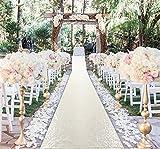 AisleRunner for Wedding 15FTx2FT Sequin Aisle Runner Indoor Outdoor Ceremonies Decor Ivory CarpetRunner Church Runner Wedding Walkway CarpetRunner Rugs AisleRunner Sequins (2FTx15FT, Ivory)
