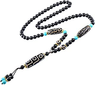 Prime Fengshui Protective Natural Black White Tibetan 9 Eye Dzi Beads Necklace Amulet Attract Positive Energy and Good Luck