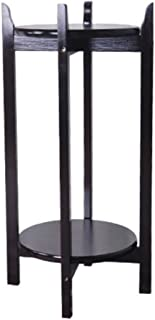 SHYPwM 無垢材フラワースタンドラック盆栽リビングルームインテリアダブルティアバルコニーフロアフラワーシェルフ (Size : 36*36*80cm)