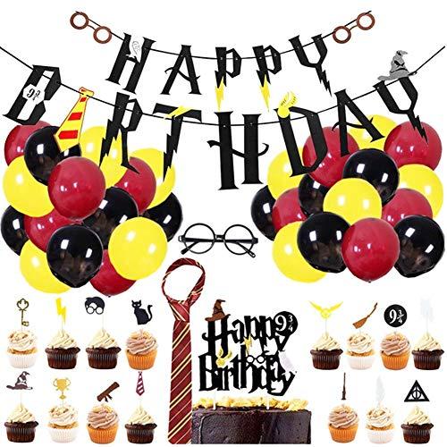 Mago Cumpleaños Fiesta Decoracion Temática,49 Piezas Suministros de Fiesta de Cumpleaños de Mago,Estandarte de cumpleaños,Cupcake Toppers Globos Corbata Gafas Decoraciones de Fiesta para Niños