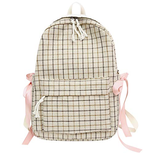 AIni Rucksack Damen Sen Literary Retro Plaid Bag Weiblicher Kleiner Frischer Plaid Bogen Studenten Rucksack Schulrucksack Business Wandern Reisen Camping Tagesrucksack