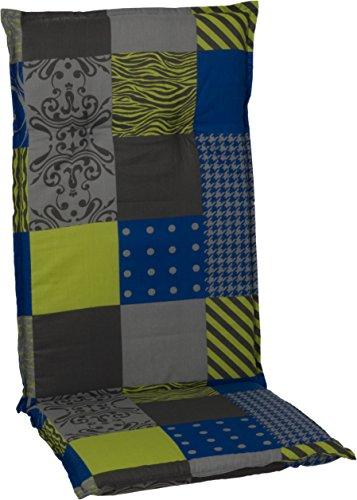 Beo Jardín Sillas Almohadilla para Silla con Respaldo Alto diseño de retales, Aprox. 118x 48x 6cm, Color Azul/Verde/Gris/Multicolor