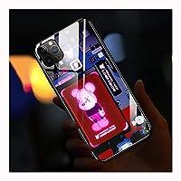 IPhone 12スマート発光電話ケースIPhone 11専用ケースiPhone 11 Pro携帯電話シェルに最適パターンApple 11 Pro Max発光ガラス スマートコールフラッシュプラス色変更TPUオールインクルーシブカップル電話ケース,C-IphoneX/Xs