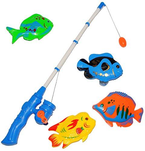 großes Angelspiel - WASSERFEST - mit 4 großen Fischen - drehbare Angel - Angeln für Kinder - mit Magnet - Badewanne Spiel Fischeangeln - Kunststoff & Plastik ..