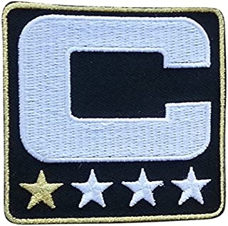 Black Captain C Patch (1 Gold Star) Iron On for Jersey Football, Baseball. Soccer, Hockey, Lacrosse, Basketball