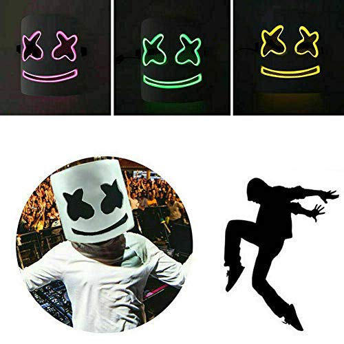 Leuchtende Marshmallow Voll-Maske aus Latex mit LED Beleuchtung; DJ Gesichtsmaske mit LEDs Licht
