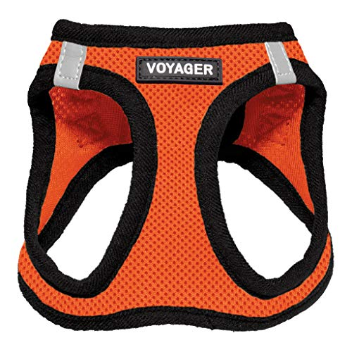 """Voyager Step-in Air Dog Harness - All Weather Mesh, Step in Vest Harness for Small and Medium Dogs by Best Pet Supplies - Orange Base, XXS (Chest: 10.5-13"""" Fit Cats) (207-ORB-XXS)"""