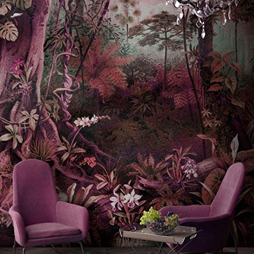Premium Vliestapete XXL Fototapete violetter Dschungel Tapete Psy Jungle 4,00m x 2,70m