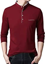 Mens Casual Premium Slim Fit T-Shirts Henley Long Sleeve Autumn Clothes HebeTop