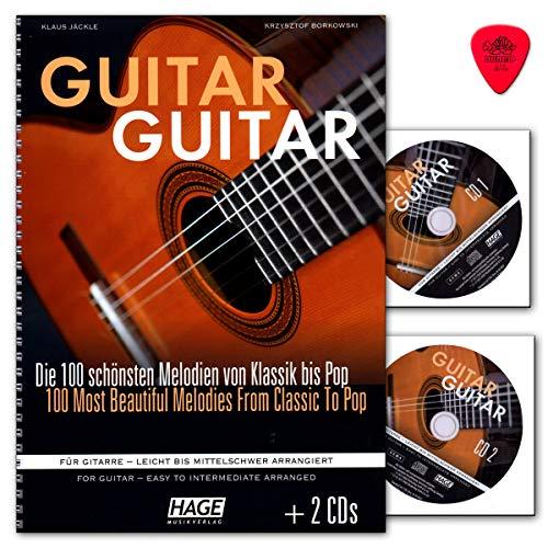 Guitar Guitar (mit 2 CDs, Dunlop Plek) 100 schönsten Melodien von Klassik bis Pop für Gitarre - leicht bis mittelschwer arrangiert - Hage - EH4833-4026929920096
