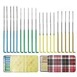 Ekalee 20 agujas de fieltro de lana multicolor, juego de herramientas con 2 tipos de agujas, agujas de fieltro y agujas triangulares de calibre 36, calibre 38, calibre 40