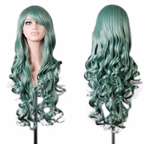 Vovotrade Femmes Lady Long Ondulé Cheveux Bouclés Anime Cosplay Partie Pleine Perruque_Vert