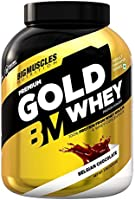 Bigmuscles Nutrition Premium Gold Whey 2kg [Belgian Chocolate]  Whey Protein Isolate & Whey Protein Concentrate, 25g...