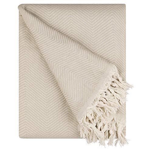 BOHORIA® Premium Tagesdecke Tulum | 100prozent Baumwolle | Oeko-Tex® | Bettüberwurf Wohndecke Wendedecke Sofadecke mit Muster | extra-groß 170 x 230 cm (Sepia)