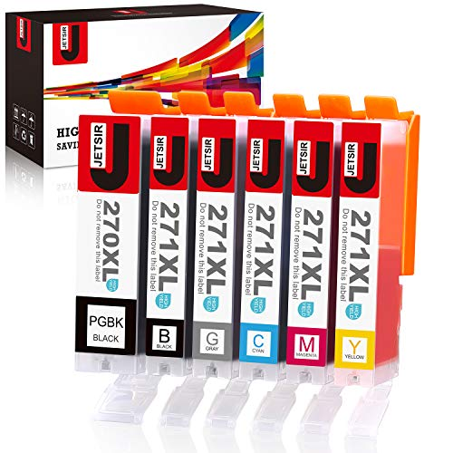 JetSir Compatible Ink Cartridges Replacement for Canon 270 271 XL 6 Color High Yield (PGBK/Black/Cyan/Magenta/Yellow/Gray), Worked with Canon Pixma MG7720 TS9020 TS8020 Printer
