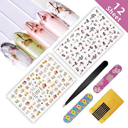 Nagelsticker, 12 Blatt 3D Design Nagel Sticker selbstklebende Aufkleber Tattoo Abziehbilder für DIY Nail Art Dekoration Karten Deko