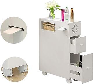 LOHOX Mueble Columna de Baño Armario para Baño Impermeable Estante de Almacenamiento con 4 Ruedas Universales con 2 Cajone...