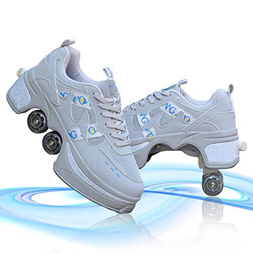 Schuhe Mit Rollen 2 in 1 Multifunktions Inline Skates Mit Bunten LED-Lichtern Multifunktions Deformations Skating Für Männer Frauen Und Kinder