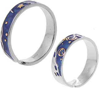 BELTI 2Pcs S925 Placcato Argento Van Gogh Blue Starry Sky Open Lover Rings Band Jewelry