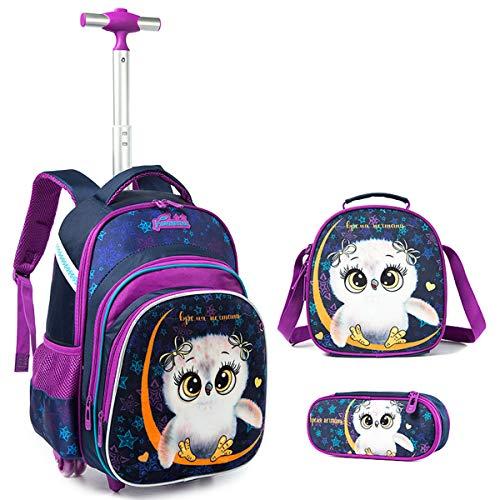 Rucksack Trolley Mädchen Schultaschen Trolley, Grundschule Trolley Rucksack mit Lunch Tasche Federmäppchen 4 in 1 Eule Schultaschen-Sets Ideal für Kinder Schüler der Klassen 1-6