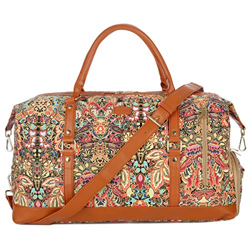 BAOSHA Handgepäck Reisetasche Sporttasche Weekender Tasche für Kurze Reise am Wochenend Urlaub Arbeitstasche mit Schuhfach HB-14 (Blumendruck mit Schuhfach)