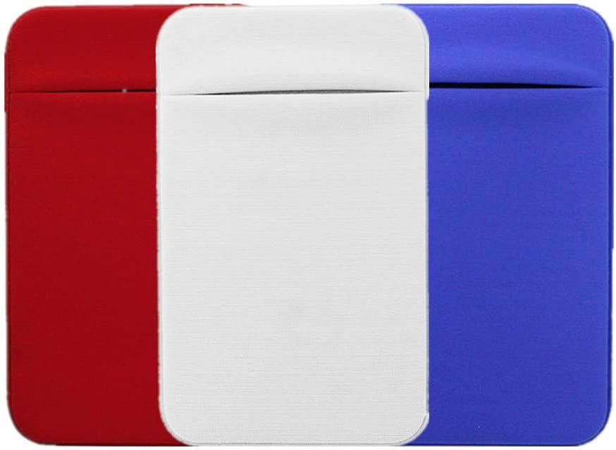 Kbinter Slim Credit Card Holder for Back of Cell Phone, Stretchy Ultra Lycra 3M Self Adhesive Phone Pocket Stick On Wallet for ID Credit Card Pocket for iPhone Android Galaxy (Red+White+Blue)