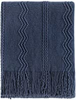 """Bourina Textured Solid Soft Sofa Throw Couch Cover Knitted Decorative Blanket, 50"""" x 60"""""""