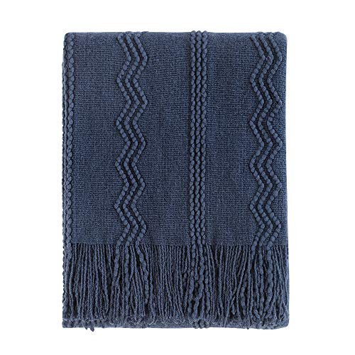 Bourina Throw Blanket Textured Solid Soft Sofa Couch Decorative Knitted Blanket, 50 x 60,Navy