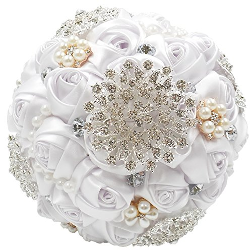 Abbie Home Customization Romantic Bride Wedding Bouquet White & Ivory Satin Roses with Pearls Rhinestone Decorative Brooches Accessories (Pure White) Silk Flower Arrangements