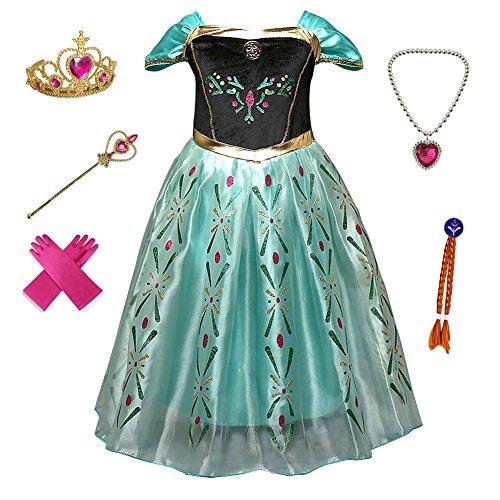 Anbelarui Prinzessin Kleid Mädchen Langes Festliches Karneval Kinder Glanz Kleider Weihnachten Verkleidung Karneval Partei Kostüm Outfit Halloween Fest (100 (Körpergröße 100cm, 07 Kleid&zubehör)