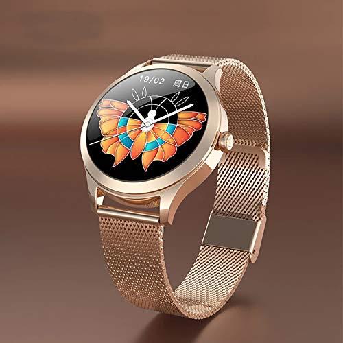 ZWW 2020 Mode Frauen Smart Uhr Luxus wasserdichte Uhr Edelstahl Lässig Mädchen Intelligente Uhr Für Android Ios,A