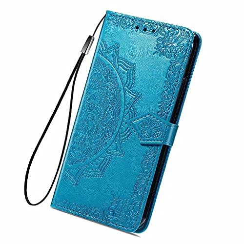 LINER Leder Hülle für Vivo Y72 5G / Vivo Y52 5G Mandala Geprägte Klapphülle, Premium PU Folio Brieftasche Stoßfest Schutzhülle Handyhülle mit Kartensteckplätze/Standfunktion - Blau